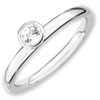Stackable Expressions Sterling Silver High Profile 4mm Round White Topaz Ring