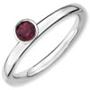 Stackable Expressions Sterling Silver High Profile 4mm Round Rhodolite Garnet Ring