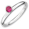 Stackable Expressions Sterling Silver High Profile 4mm Round Created Ruby Ring
