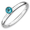 Stackable Expressions Sterling Silver High Profile 4mm Round Blue Topaz Ring