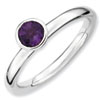 Stackable Expressions Sterling Silver High Profile 5mm Round Amethyst Ring