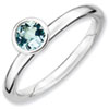 Stackable Expressions Sterling Silver High Profile 5mm Round Aquamarine Ring