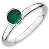Stackable Expressions Sterling Silver High Profile 5mm Round Created Emerald Ring