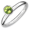 Stackable Expressions Sterling Silver High Profile 5mm Round Peridot Ring