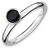 Stackable Expressions Sterling Silver High Profile 5mm Round Created Sapphire Ring