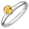 Stackable Expressions Sterling Silver High Profile 5mm Round Citrine Ring