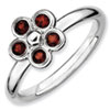 Stackable Expressions Sterling Silver Garnet Flower Ring