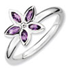 Stackable Expressions Sterling Silver Amethyst Flower Ring