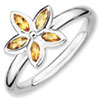 Stackable Expressions Sterling Silver Citrine Flower Ring