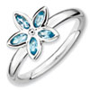 Stackable Expressions Sterling Silver Blue Topaz Flower Ring
