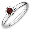 Stackable Expressions Sterling Silver Low 4mm Round Garnet Ring