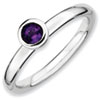 Stackable Expressions Sterling Silver Low 4mm Round Amethyst Ring