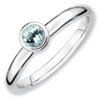 Stackable Expressions Sterling Silver Low 4mm Round Aquamarine Ring