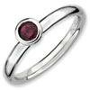 Stackable Expressions Sterling Silver Low 4mm Round Rhodolite Garnet Ring