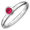 Stackable Expressions Sterling Silver Low 4mm Round Created Ruby Ring