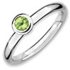 Stackable Expressions Sterling Silver Low 4mm Round Peridot Ring