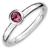 Stackable Expressions Sterling Silver Low 4mm Round Pink Tourmaline Ring