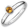 Stackable Expressions Sterling Silver Low 4mm Round Citrine Ring