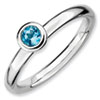 Stackable Expressions Sterling Silver Low 4mm Round Blue Topaz Ring