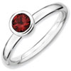 Stackable Expressions Sterling Silver Low 5mm Round Garnet Ring