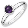 Stackable Expressions Sterling Silver Low 5mm Round Amethyst Ring
