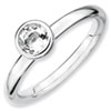 Stackable Expressions Sterling Silver Low 5mm Round White Topaz Ring