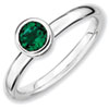 Stackable Expressions Sterling Silver Low 5mm Round Created Emerald Ring