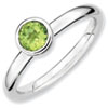 Stackable Expressions Sterling Silver Low 5mm Round Peridot Ring