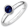Stackable Expressions Sterling Silver Low 5mm Round Created Sapphire Ring