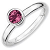 Stackable Expressions Sterling Silver Low 5mm Round Pink Tourmaline Ring