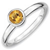 Stackable Expressions Sterling Silver Low 5mm Round Citrine Ring