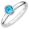 Stackable Expressions Sterling Silver Low 5mm Round Blue Topaz Ring