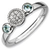 Stackable Expressions Sterling Silver Double Round Aquamarine and Diamond Ring