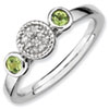 Stackable Expressions Sterling Silver Double Round Peridot and Diamond Ring