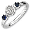 Stackable Expressions Sterling Silver Double Round Created Sapphire and Diamond Ring