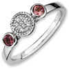 Stackable Expressions Sterling Silver Double Round Pink Tourmaline and Diamond Ring