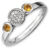 Stackable Expressions Sterling Silver Double Round Citrine and Diamond Ring