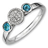Stackable Expressions Sterling Silver Double Round Blue Topaz and Diamond Ring