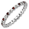 Stackable Expressions Sterling Silver Garnet and Diamond Ring