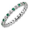 Stackable Expressions Sterling Silver Created Emerald and Diamond Ring