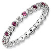 Stackable Expressions Sterling Silver Rhodolite Garnet and Diamond Ring