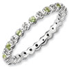 Stackable Expressions Sterling Silver Peridot and Diamond Ring