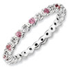 Stackable Expressions Sterling Silver Pink Tourmaline and Diamond Ring
