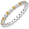 Stackable Expressions Sterling Silver Citrine and Diamond Ring