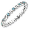 Stackable Expressions Sterling Silver Blue Topaz and Diamond Ring