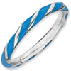 Stackable Expressions Sterling Silver Twisted Blue Enameled 2.4 x 2.0mm Ring