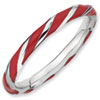 Stackable Expressions Sterling Silver Twisted Red Enameled 2.4 x 2.0mm Ring