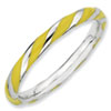 Stackable Expressions Sterling Silver Twisted Yellow Enameled 2.4 x 2.0mm Ring