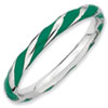 Stackable Expressions Sterling Silver Twisted Green Enameled 2.4 x 2.0mm Ring