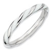 Stackable Expressions Sterling Silver Twisted  White Enameled 2.4 x 2.0mm Ring